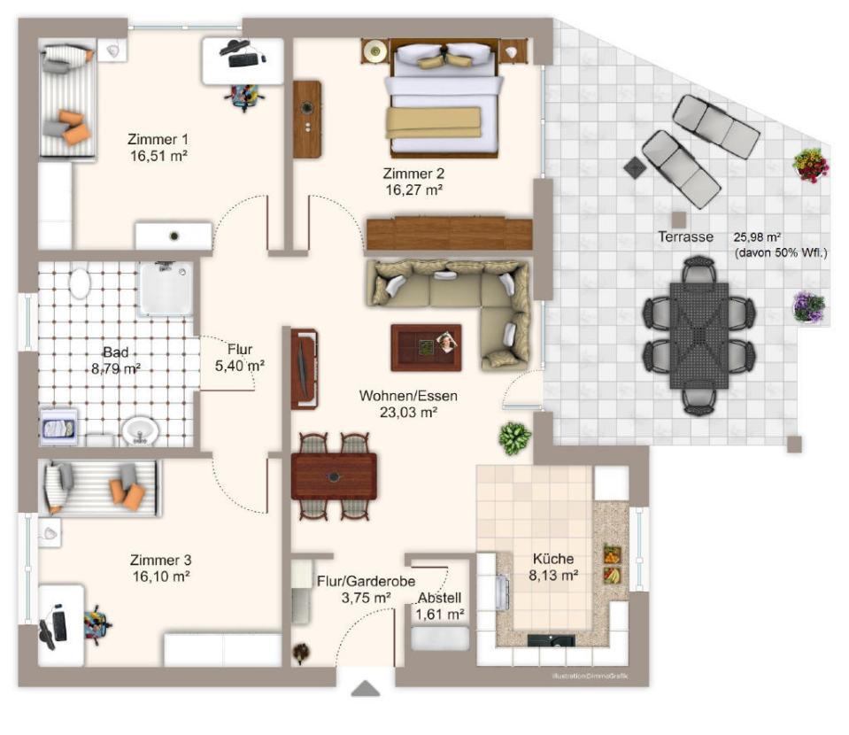 64380 ro dorf barrierefreie neubau eigentumswohnung voba immo. Black Bedroom Furniture Sets. Home Design Ideas